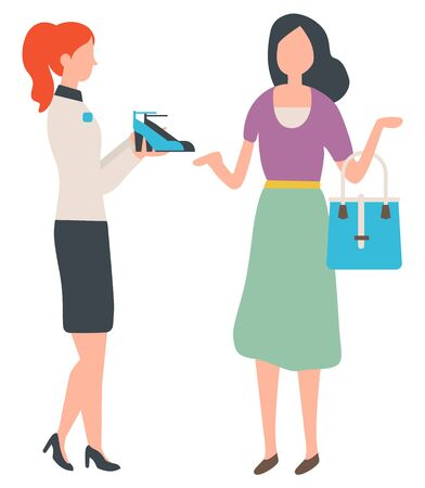 Shopping woman buying shoes in shop vector, isolated female with handbag listening to fashion advisor. Lady wearing uniform showing boots on heels