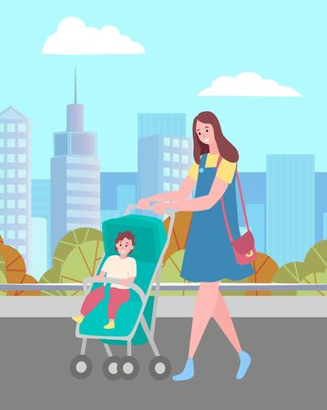 Mother and son, woman walking with baby in pram or carriage on city street vector. Mom with kid and skyscrapers behind, towers and downtown, cityscape