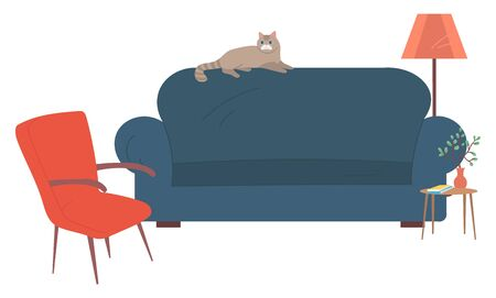 Furniture of home vector, isolated sofa with armchair and table with vases. Pet with furry coat, lamb and houseplant blooming plant with foliage flat style