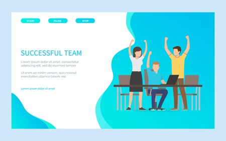 People with rising hands reach success, group of man and woman progressing together. Worker sitting on chair at desktop with laptop, office vector. Website or webpage template, landing page flat style 일러스트