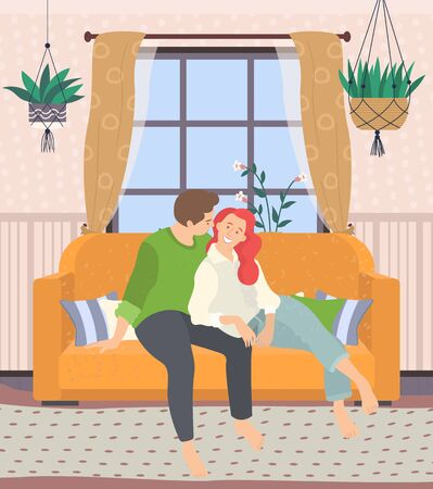 Couple sitting on couch in living room at home. Happiness and cosiness. Sofa with pillows and plants, carpet on floor. Vector illustration in flat style