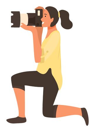 Woman paparazzi standing on one knee and making professional shoots on photo camera, profile view. Vector isolated photo correspondent with camera Illusztráció