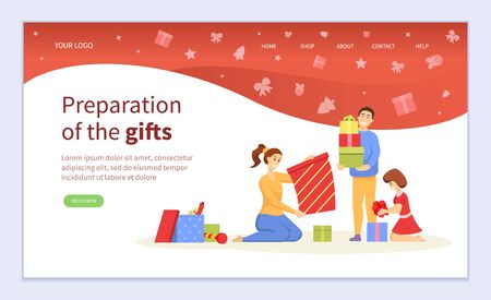 People making colorful handmade Christmas present, preparation of gifts online. Girl and boy creative geometric package with ribbon. Webpage or website template, landing page flat style vector