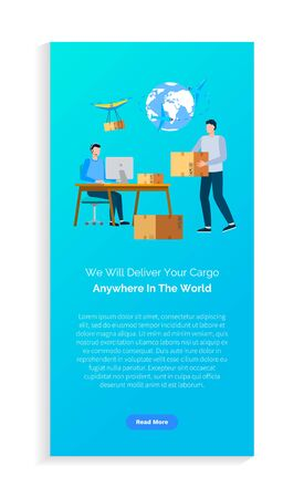 We will deliver your cargo anywhere in world, people employees working with boxes, using pc, modern transportation, international commerce vector. Website or webpage template, landing page flat style