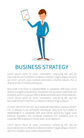 Business strategy, presenter with whiteboard info in visual form vector. Businessman with presentation and statistics data charts, flat style poster