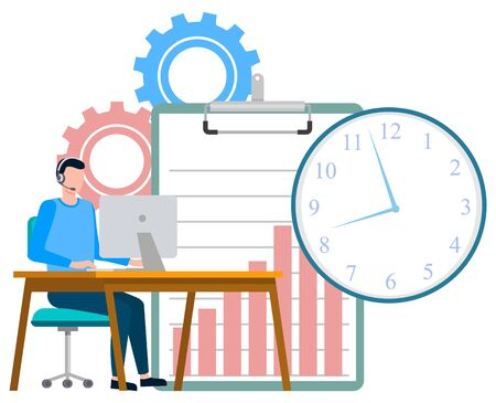 Man working in office vector, worker wearing headphones looking at monitor of computer. Cogwheels and time clock, clipboard with raising charts info