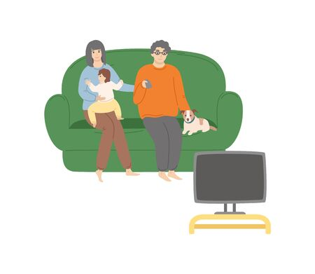 Family with dog sitting together on sofa and watching TV, kid embracing mom, man holding remote, people portrait view isolated on white, room vector Ilustracja