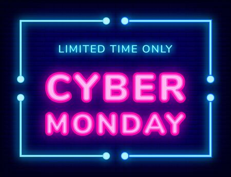 Poster with laser symbol of limited time only cyber Monday. Board decorated by business promotion of sale. Internet technology for shopping, advertising link for store with neon objects on dark vector