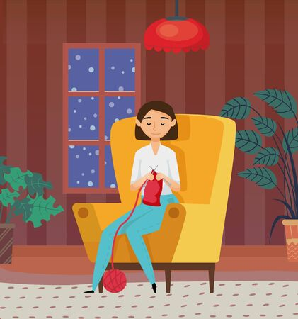Female sitting on armchair with needles and ball, crocheting indoor. Hobby of woman knitting at home, houseplant in room, dark view from window vector 일러스트