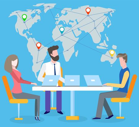 International business vector, man and woman discussing projects. Map with location pointers and lines connected together. Talking people at work Ilustração