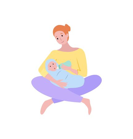 Newborn child vector, isolated woman with kid feeding baby, childcare flat style. Happy motherhood and childhood, people family, loving parent female Vettoriali