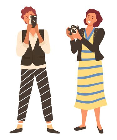 Smiling people holding camera equipment, hobby of woman in casual clothes taking photo. Photographers females with photo-camera and film-camera vector
