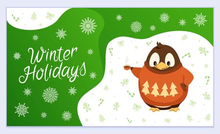 Holiday postcard decorated by funny penguin and snowflakes. Xmas greeting card with winter child character in sweater and snow symbol. Poster preparation for Christmas with best wishes vector Illustration