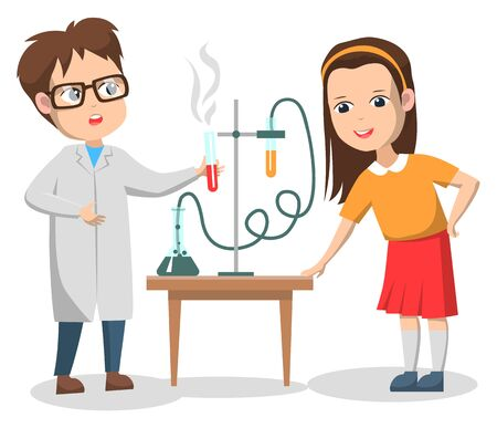 Chemistry lesson vector, isolated boy and girl conducting experiment with substances and chemicals. Teacher and schoolgirl curious character, back to school concept. Flat cartoon 일러스트