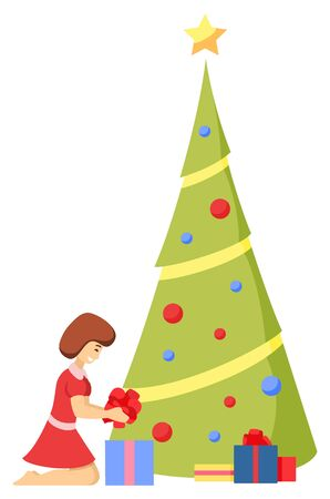 Girl character decorating fir-tree with ball and garland, star toys. Postcard woman sitting with present box and ribbon. Card preparation for Christmas holiday with traditional winter symbol vector