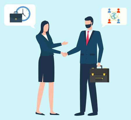 Agreement between business leaders vector, flat style characters working on projects together. Director and secretary with briefcase and time, globe icon and network social activity of users