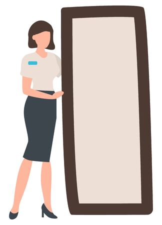 Woman wearing formal uniform standing by big mirror vector, isolated female character working in shop. Store to buy clothes changing room flat style
