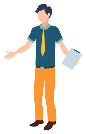 Secretary man with clipboard vector, isolated character worker with document paper on board. Male not knowing what to do, professional working male Illusztráció