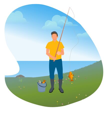 Man standing with rod and fish on it. Person fishing on lake or river. Two fishes in bucket. Male on vacation do favorite hobby. Human in boots, fishery sport. Vector illustration in flat style