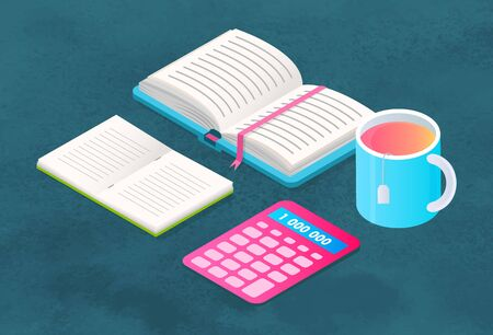 Opened textbook with hard cover and notepad. Supplies for education, study and work at office. Stuff for school like book and copybook, calculator. Cup with tea. Vector illustration in flat style