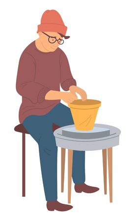 Pottery making clay kitchenware hobby, isolated cartoon style person sitting at spinning table and producing handmade vase. Vector, creating of containers and jars Ilustração