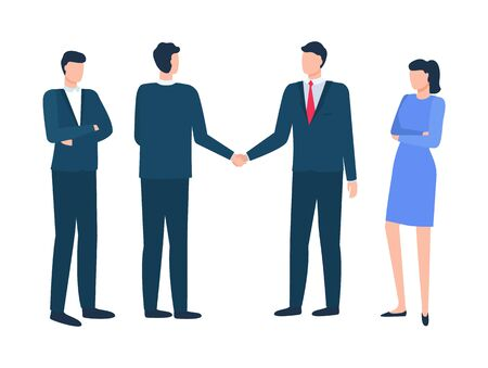 Meeting of business partners vector, men shaking hands isolated people wearing formal clothes. Secretary women and employee boss standing strictly