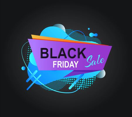 Poster black Friday, sale label with blue abstract liquid shape, discount or advertising symbol, shopping flyer in flat design style, retail cover vector