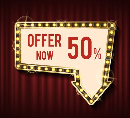 Glowing frame with sale advertisement vector, golden lights and offer now. 50 percent off price, lowered cost for items and goods, red curtain background