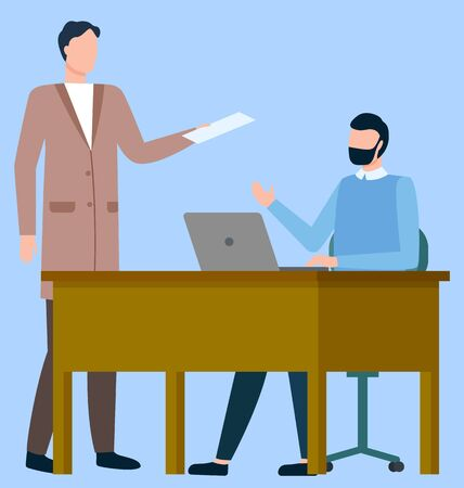 Office workers, talk at table with laptop, international business vector. Businessmen discussing work or job, boss and employee, order or working task