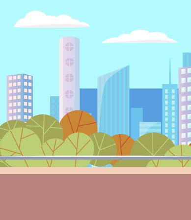 City autumn park with empty road. Beautiful landscape on background with many skyscrapers. Modern downtown, business center. Green trees in summer, warm weather in town. Vector illustration in flat