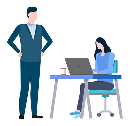 Woman sitting on chair at desk and boss supervising employer. Vector training at work controlling supervisor, brokers collaboration and cooperation