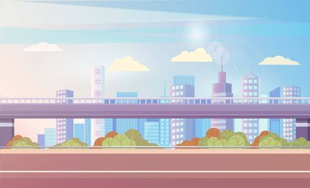 Streets and highways of big city vector, flat urban area. Bushes and greenery of town, bridge and skyscrapers, realistic metropolitan exterior scenery. Highway overpass and city skyline in sunlight