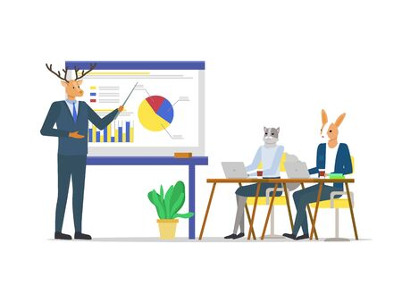 Hipster animals vector, students listening to coach talking about business details, courses and educational program. Kangaroo and deer wearing suit 일러스트