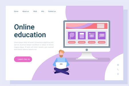 Online education, student using wireless device, people communication with computer. Distance studying, distance information, screen of pc, e-learn vector. Landing page template, webpage or website