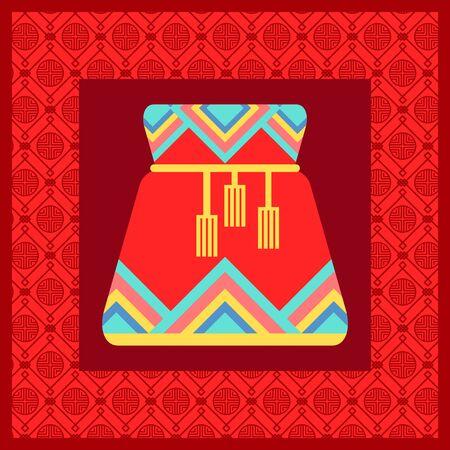 中国の休日ベクター、装飾品とフォーチュンバッグのお祝い。赤い色のフラットスタイルのサック。糸、アジアの文化や習慣を持つファブリックサ