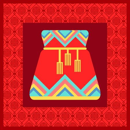 Celebration of chinese holidays vector, fortune bag with ornaments. Sac of red color flat style. Fabric sack with thread, asian culture and customs, wishing luck and prosperity for people illustration Ilustracja