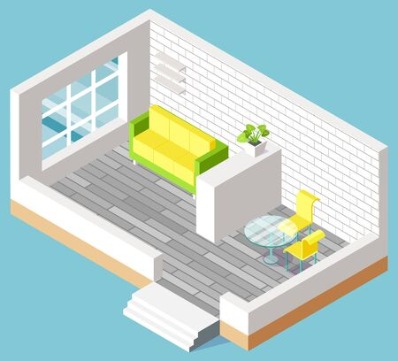 Interior of living room with new relocation of furniture, brick walls in apartment. Sofa near window, table with chairs, nobody place, architecture vector