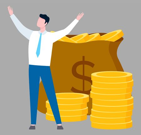 Man worker raising hands, moneybag with coins, salary or tax sign. Employee standing near currency, person and capital, investment and income vector