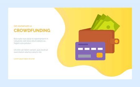 Projet de financement participatif avec sac à main plein de billets de banque et carte de crédit. Vecteur d'investissement et de dons, les sponsors donnent de l'argent sur le développement de la startup. Modèle de site Web ou de page Web, style plat de page de destination