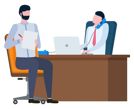 Men colleagues teamwork, worker calling and using laptop, male writing. Broker collaboration, portrait view of employees on workplace, marketing vector