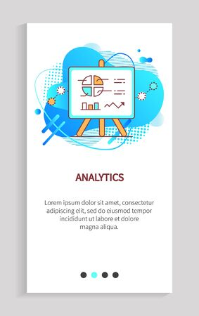 Analytics vector, presentation with information and analyze data in visual form, poster explanation whiteboard with diagram and segments. Website or app slider, landing page flat style