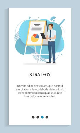 Strategy of person wearing formal clothes vector, present giving ideas on strategy and development of company, male with clipboard document. Website slider app template, landing page flat style