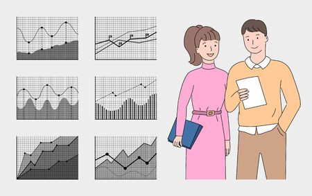 Charts or graph on cells and grey color, people communication, workers man and woman holding papers, discussing documents, closeup view of employees vector 일러스트