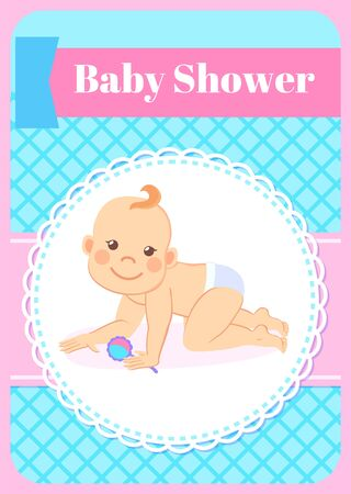 Baby shower greeting card, round napkin framing and six or seven kid month standing on knees with rattle in hands, infant in diaper. Vector newborn toddler Ilustracja