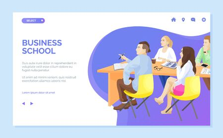 Business school vector, people listening with attention, students getting knowledge and education. Woman and man sitting by desk with notebooks. Website or webpage template, landing page flat style