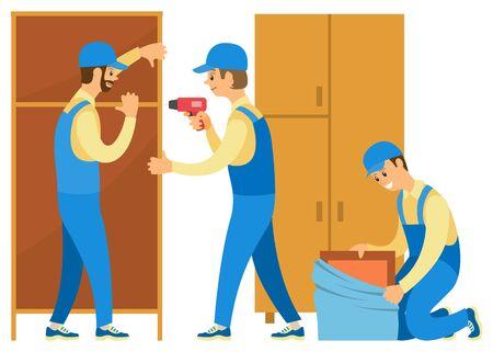 Hombres de uniforme desempacando cosas. La gente se muda a una nueva casa o piso. Los cargadores ayudan a moverse. Escalera de tijera y guardarropas, cajas de cartón ilustración vectorial en estilo de dibujos animados plana