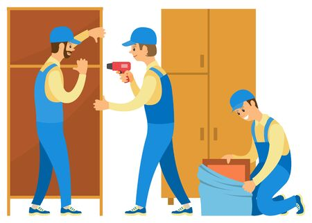 Uomini in uniforme che disfano le cose. Le persone si trasferiscono in una nuova casa o appartamento. I caricatori aiutano nello spostamento. Scaletta e armadi, scatole di cartone illustrazione vettoriale in stile cartone animato piatto