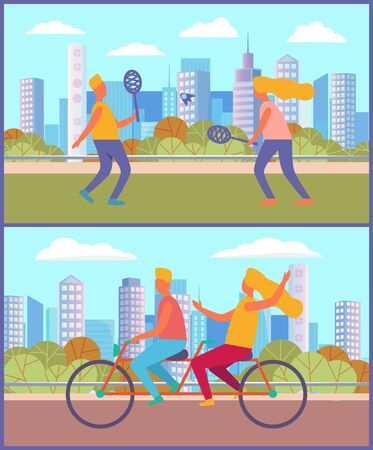 Couple leading active lifestyle vector, man and woman riding bicycle in city park. Playing tennis, boyfriend and girlfriend with rockets and ball in town