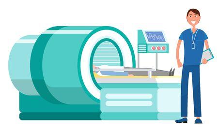 Docteur novice en pratique dans le vecteur hospitalier, machine d'imagerie par résonance magnétique irm. Assistant doc isolé avec des patients, équipement de diagnostic