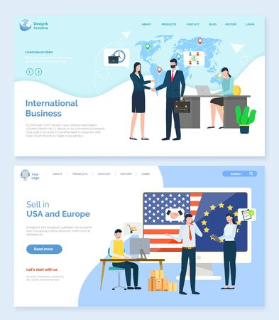 Sell in USA and Europe, international business, worldwide trade. Man and woman handshake, employee working computer, communication with pc vector. Landing page template, website or webpage flat style